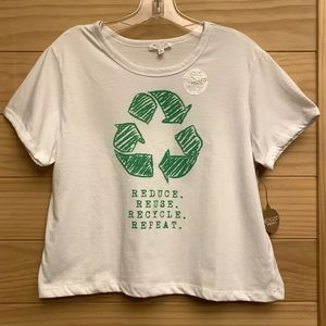 """NWT Recycled Threads """"Recycle"""" Cropped T-Shirt"""